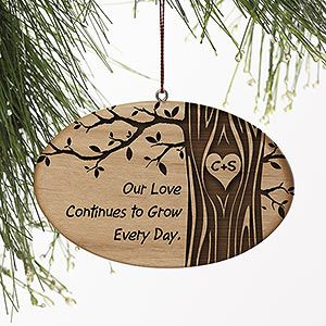 The tree design on this ornament is beautiful! This is such a cute ornament to give to your loved one! You can have the tree trunk engraved with any initials and you can write any message you want to be engraved on the left side! Great Wedding Gift idea too!Hallmark Christmas Ornaments, Christmas Couple Ornaments, Initials Carvings, Couples Christmas Ornaments, Personalized Couples, Couple Christmas Ornaments, Initial Christmas Ornaments, Christmas Trees, Personalized Ornaments