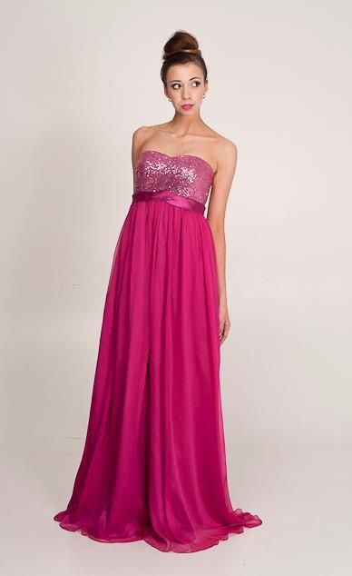Taliah: sequin bling bodice with empire line. Perth Designer of ball gowns and bridesmaid dresses.