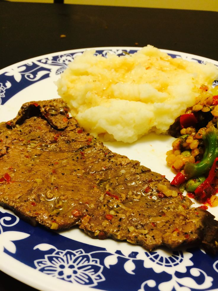 Beef, mashed potatoes and mixed honey vegetables #delicious