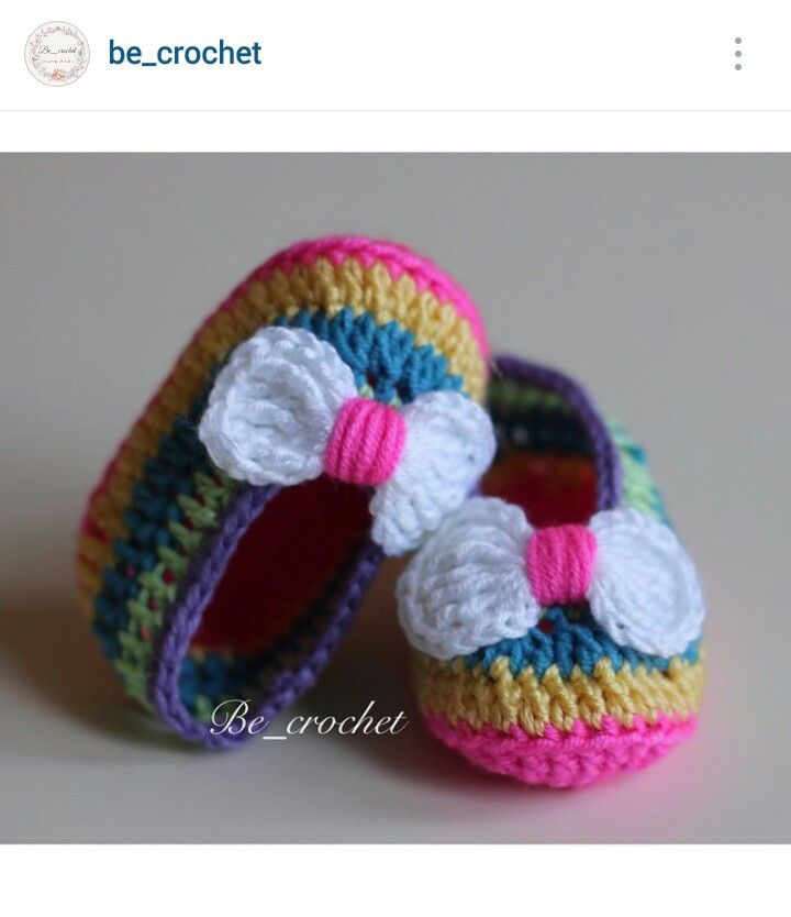 Instagram @be_crochet - crochet baby girl's shoes