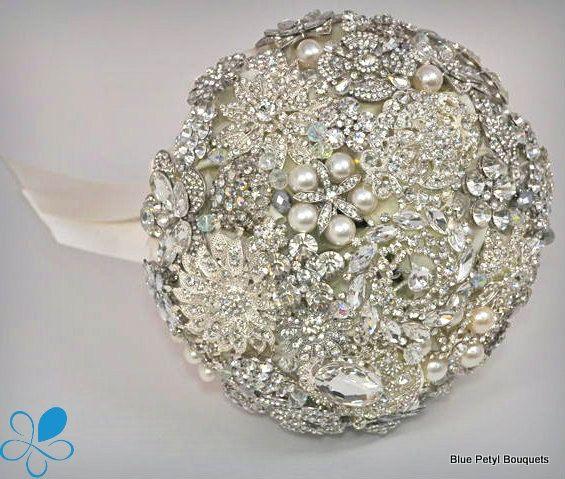 Diamante Brooch Bouquet - by Blue Petyl - MEDIUM - Bridal Bouquet - Wedding Bouquet  by BluePetyl, $399.00