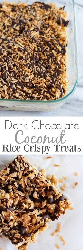Dark Chocolate Coconut Rice Crispy Treats - pumpkinandpeanutbutter