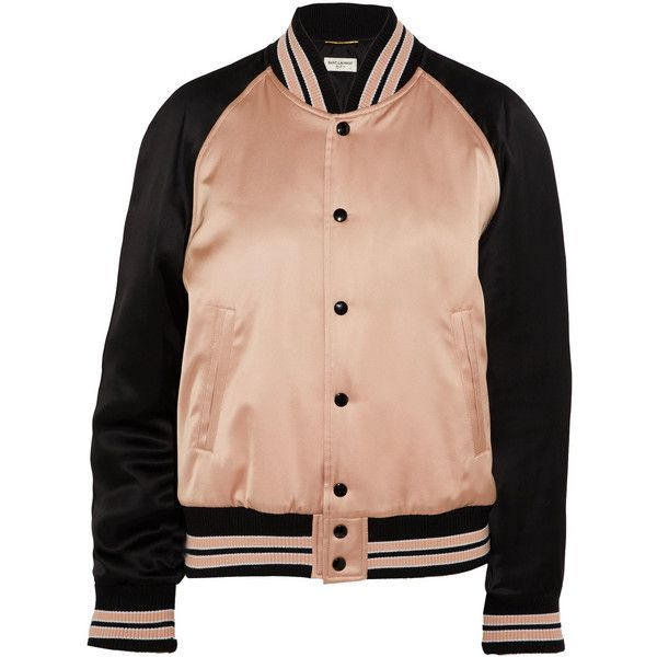 Saint Laurent Two-tone satin bomber jacket ($2,515) ❤ liked on Polyvore featuring outerwear, jackets, bomber jackets, denim jacket, denim biker jackets, red jean jacket and lined denim jacket