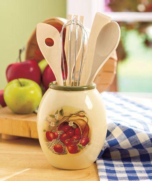 6 Piece Ceramic Apple Utensil Holder Kitchen Decor