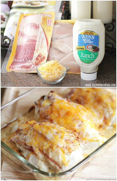 Only 4 ingredients for a super easy weeknight dinner recipe  Bacon Ranch Chicken Bake by thepinningmama com