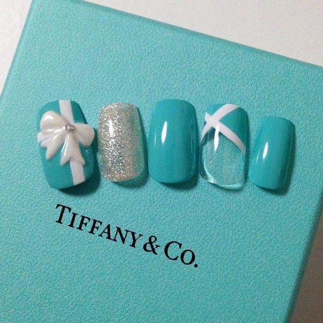 Tiffany nail. いつかやってみたい✌✨ #nail#nails#nailart#3d#3dart#naillove#instanail#Tiffany#ribbon#blue#gelnail#love#cute#ネイル#ジェルネイル#ネイルアート#エンボス#リボン#ブルー#ティファニー