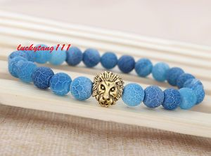 Men's Blue Weathering Agate Gemstone Beaded Energy Lion Protection Bracelet S36 | eBay