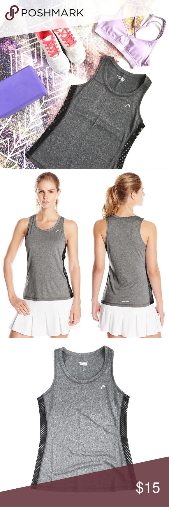 "HEAD Mesh Winged Active Tank in Charcoal Strike, S Basics don't have to be basic with this awesome athletic tank top from HEAD, featuring a heathered charcoal body with black meshed-out side panels for supreme breathability and air transfer. Scoop neck, sweat-wicking material. Size S, fits true to size, measures approx 15.5"" across chest, 24.5"" long. Brand new, never worn, NWOT. Please feel free to make an offer, bundle for greater discount, or ask any questions! :) HEAD Tops Tank Tops"
