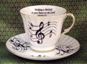 "Music Notes Tea Cup & Saucer ""Making a Melody in your heart to the Lord"""