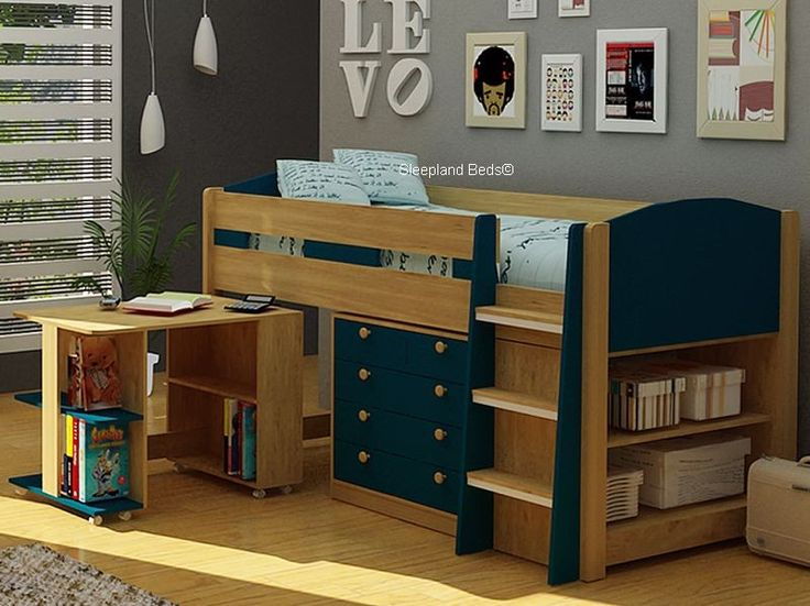 mayfair mid sleeper blue and oak midsleeper bed with desk u0026 storage
