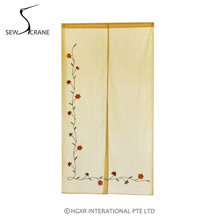 SewCrane Cotton Linen Fabric Curtain Embroidery Design L-shaped Flower Home Restaurant Door Curtain Japanese Noren Curtain #Affiliate
