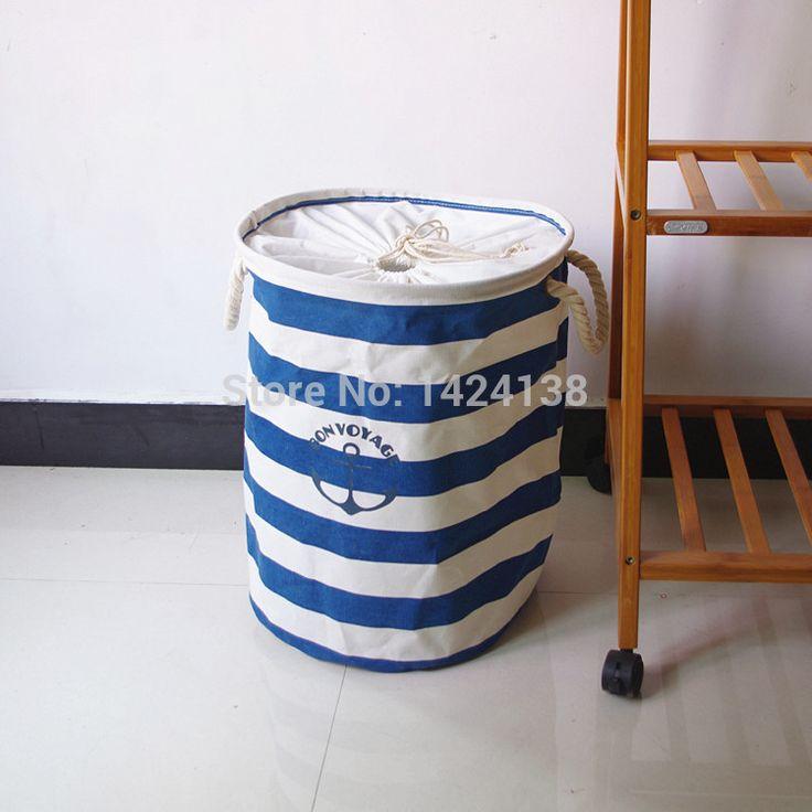 Очень популярные большой голубой полосой ткани легко сложить и прачечная корзина с веревкой ручки