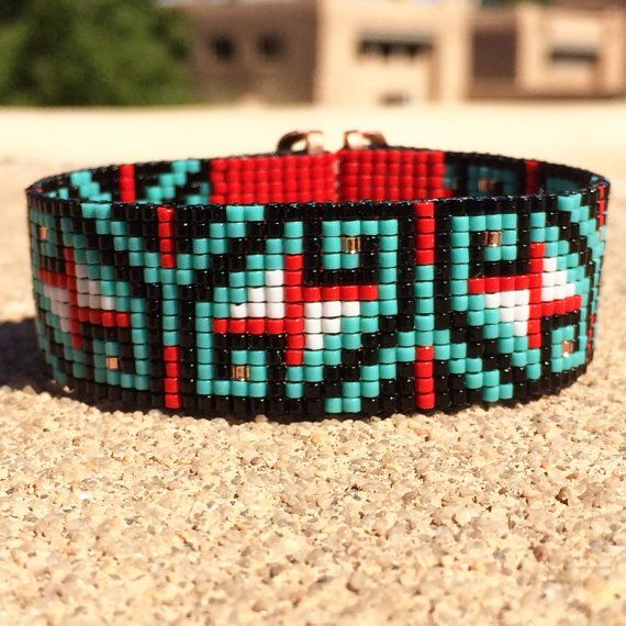 Chama Bead Loom Cuff Bracelet Native American Style Beaded Jewelry Boho Tribal Turquoise Beadweaving Southwestern