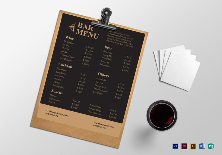 146 best Menu Template designs images on Pinterest Restaurant - sample cafe menu template