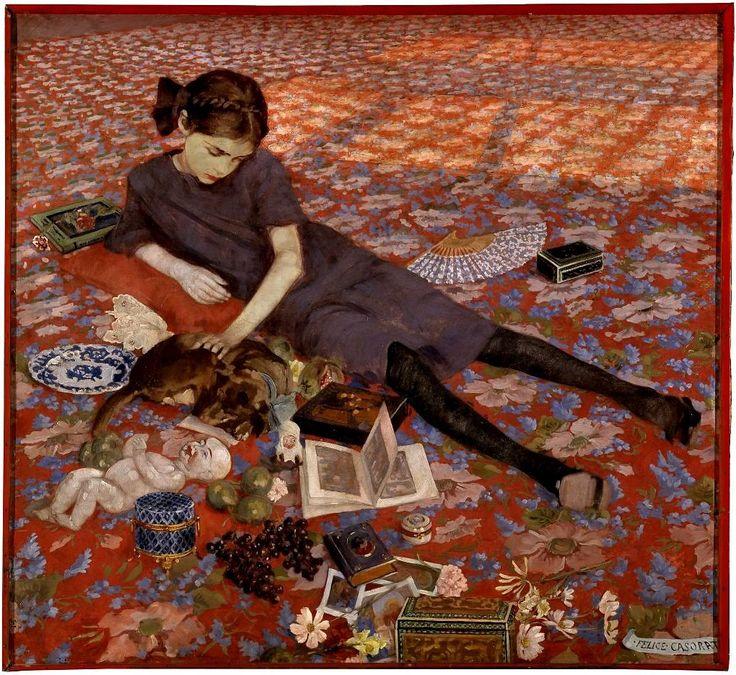 Felipe Casorati - Bambina che gioca su un tappeto rosso (1912)