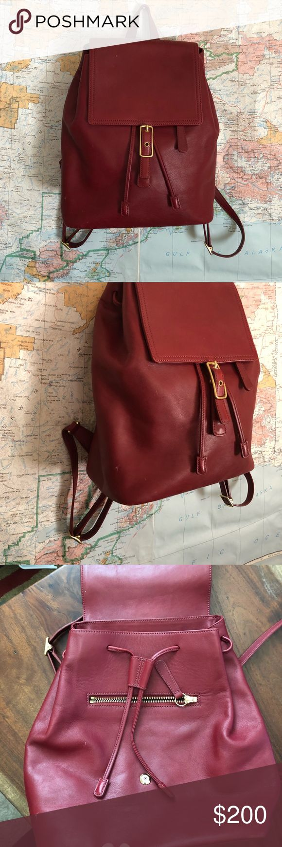 "Vintage Coach Burgundy Backpack Coach  Vintage only one owner Perfect condition Has the dust bag Burgundy cranberry color Amazing chic and trendy  Price is firm! About 12"" tall And 13 wise when pushed flag Coach Bags Backpacks"