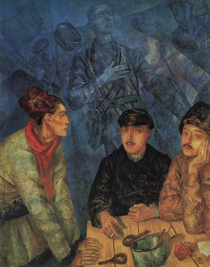 Картина «После боя» (1923) — важный этап в творчестве Петрова-Водкина. Она в корне отлична от его дореволюционных, как правило, вневременных произведений. В этой картине конкретна эпоха — гражданская война, конкретны люди — красноармейцы, конкретна ситуация, выраженная в названии произведения.