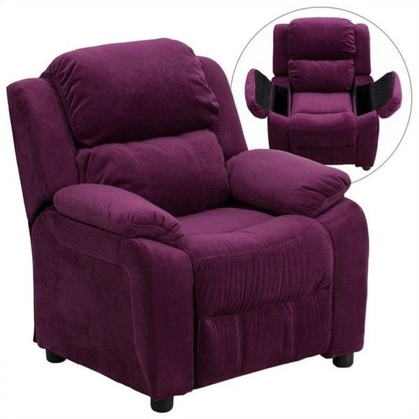 Flash Furniture Padded Kids Recliner ($159) ❤ liked on Polyvore featuring home, children's room, children's furniture and purple
