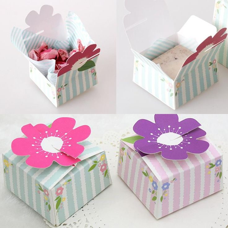6.7*7.2*4.2cm 10 Pcs 2 Color Flower Cake Macaron Paper Box Wedding Christmas Birthday Cookie Candy Chocolate Packing Paper Boxes #Affiliate