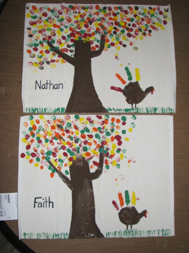 Kids' thanksgiving placemats (basic placemat from IKEA), mommy painted a simple tree trunk. Kids added fingerprint leaves and a handprint turkey. Then we used dry spaghetti noodles to make grass. Will write (on the back) what the child is thankful for each year, and how old they are/were that year. Hoping I keep up with it!