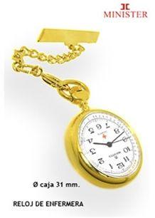 Relojes de enfermera. Reloj Minister de enfermera, chapado en oro 18 ktes., movimiento de cuarzo y alfiler para colgar