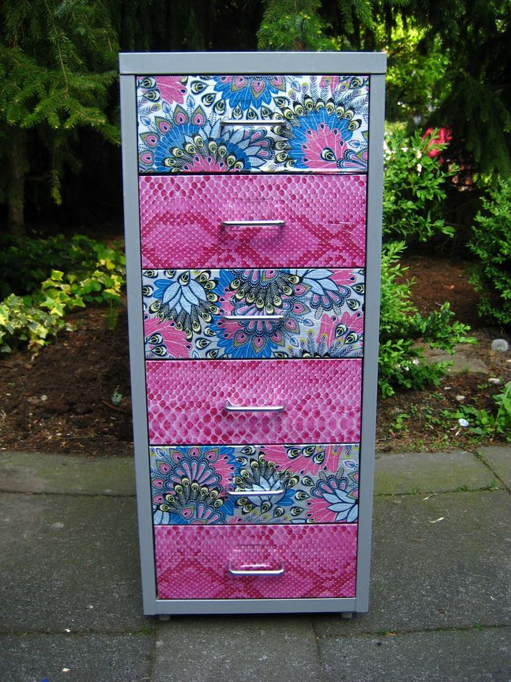 Filing cabinet decorating DIY using Decopatch paper and glue.