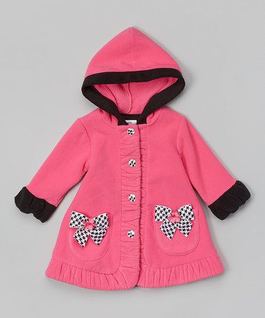 Another great find on #zulily! Fuchsia Houndstooth Hooded Coat - Infant, Toddler & Girls by Gerson & Gerson #zulilyfinds