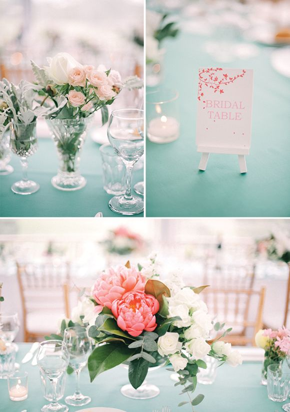 mint tablecloth, coral blooms: Centerpieces Ideas, Coral Peonies, Low Centerpieces, Mint Coral Centerpieces, Coral Inspiration, Fresh Flowers, Peaches Flowers, Peaches Mint, Mint Tablecloths