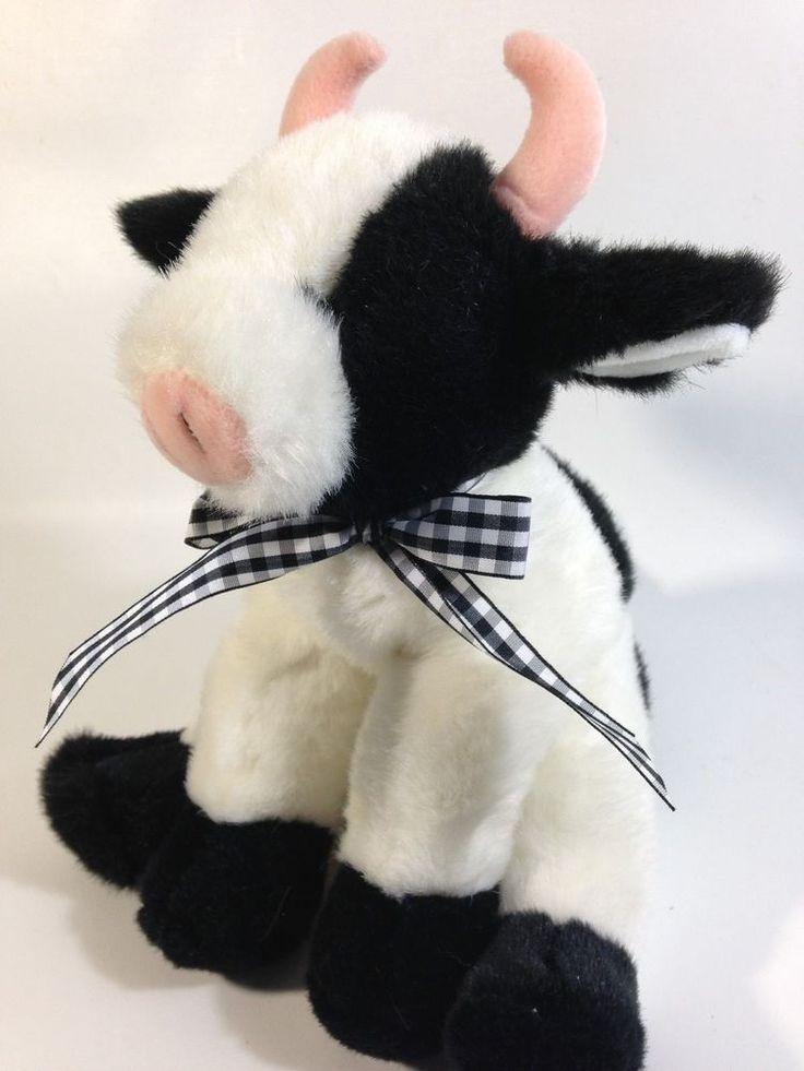 Bearington Plush COW Bessie Black White Stuffed Animal Bean Bag Toy Pink Horns #BearingtonCollection
