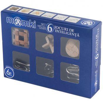 Set 6 Jocuri de inteligenta Momki, 3 metal, 3 lemn