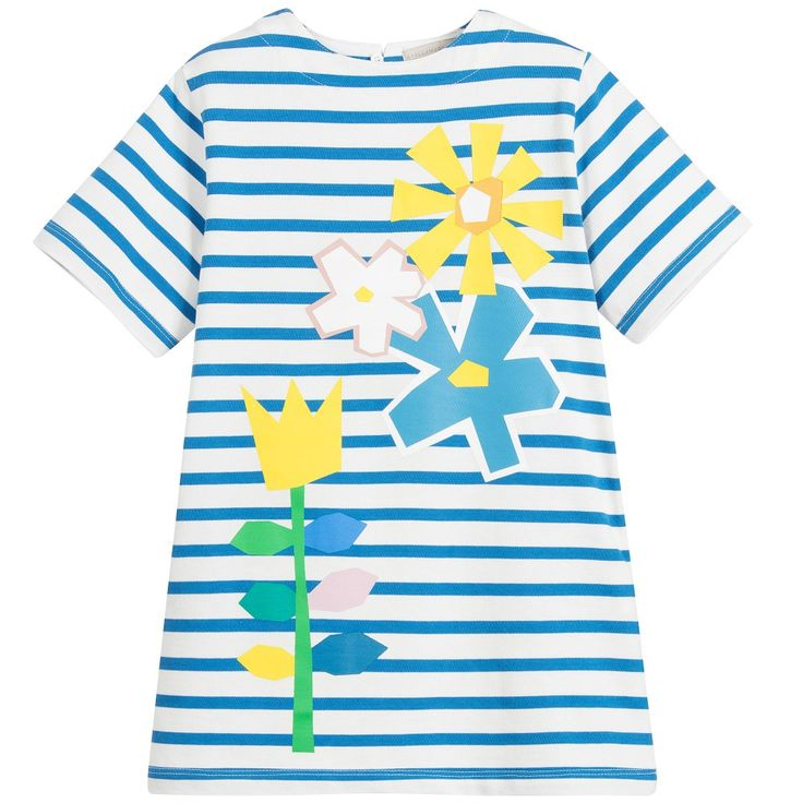 Stella McCartney Kids - Girls Blue Floral Striped Dress | Childrensalon