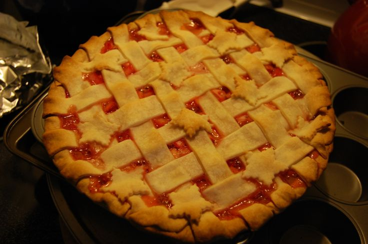 Award Winning Strawberry Rhubarb Pie Recipe | Just A Pinch Recipes I made this for a block party and it was the first dessert that was finished off!  It's simple and really good. The only change I made was to use about 1/4 cup less sugar.