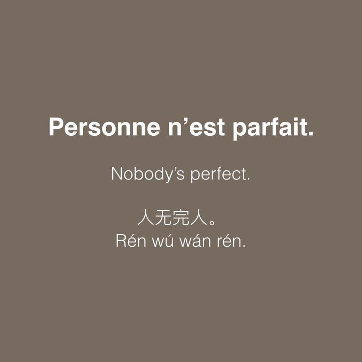La perfection n'est pas de ce monde. Personne n'est parfait. Nobody's perfect. 人无完人。 Rén wú wán rén.