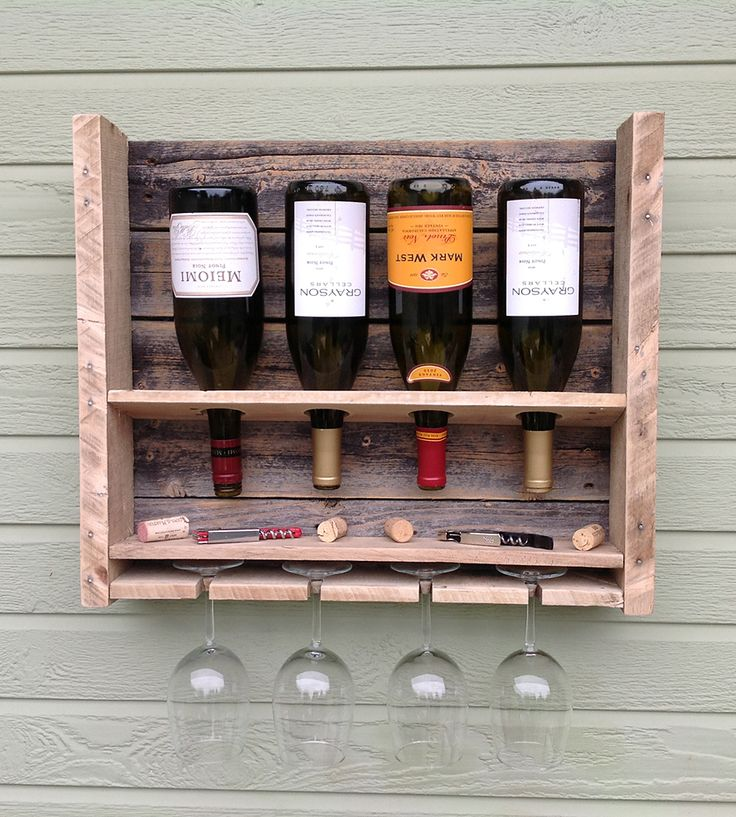 """Small Reclaimed Pine Wine Rack for the balcony with plastic wine """"glasses""""!"""