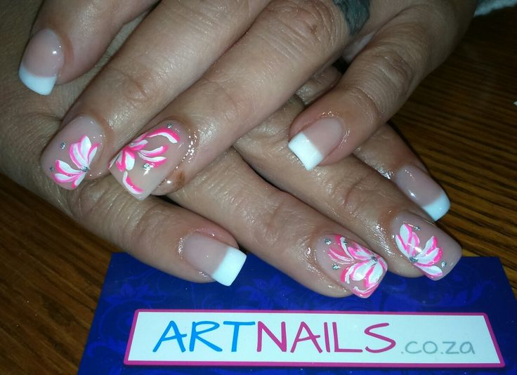 French acrylic nails with white and hand painted pink nails art flowers I did
