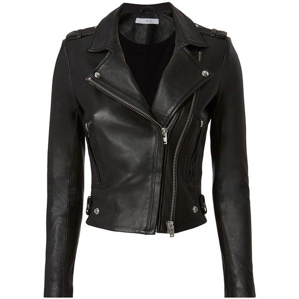 IRO Women's Dylan Black Leather Cropped Moto Jacket ($1,295) ❤ liked on Polyvore featuring outerwear, jackets, black, biker jackets, leather jackets, rider leather jacket, zipper leather jacket and iro jacket