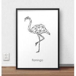 Plakat z grafiką flaminga oprawiony w czarną ramę bez passepartout