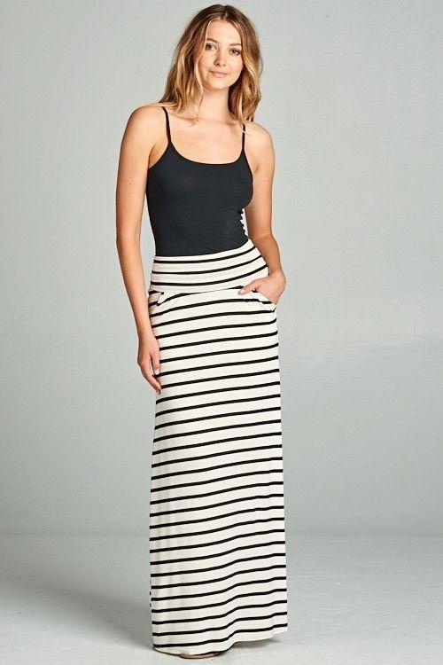 Ivory/Black Striped Maxi Skirt