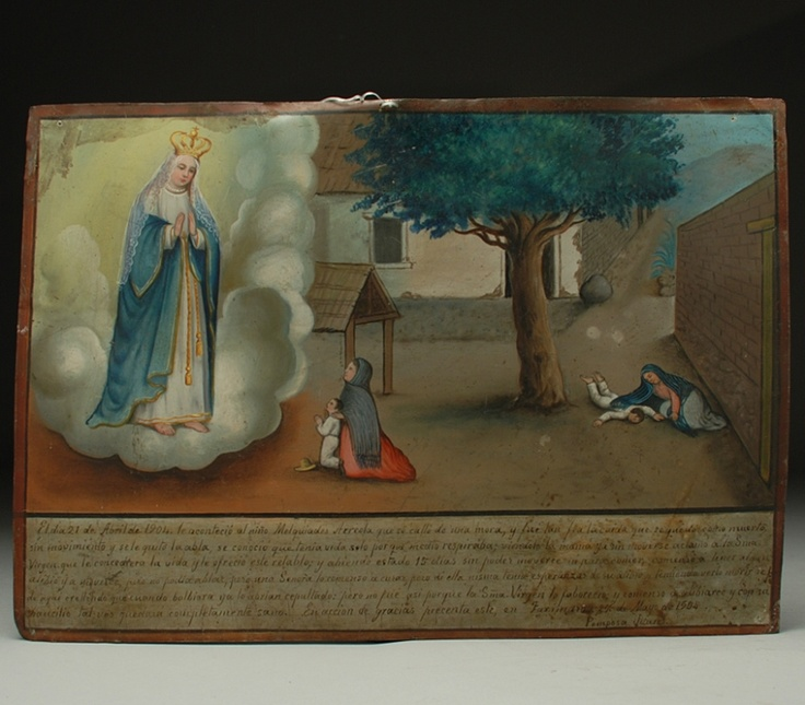 A small boy nearly dies after falling from a tree and the Virgin Mary is thanked for her help.: Retablo, Mulberry Tree