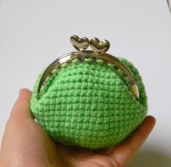 Green crochet coin purse hearts coin purse kiss clasp by craftysou