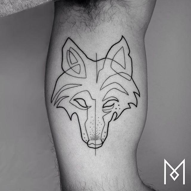 One line wolf tattoo by mo ganji t a t t o o pinterest for Single line tattoo