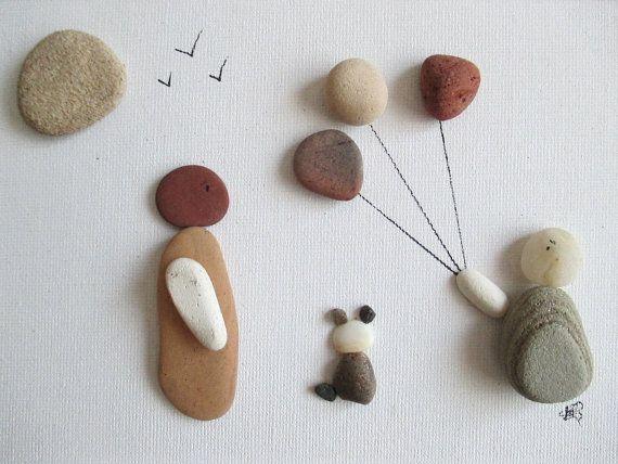 Pebble Art:  Balloon Flying on a Canvas Board in by ShoreThingsNE