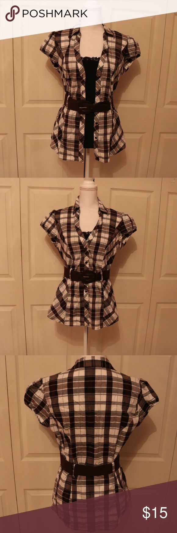 Short sleeve flannel Brown flannel with built in tank top  Comes with belt HeartSoul Tops Button Down Shirts