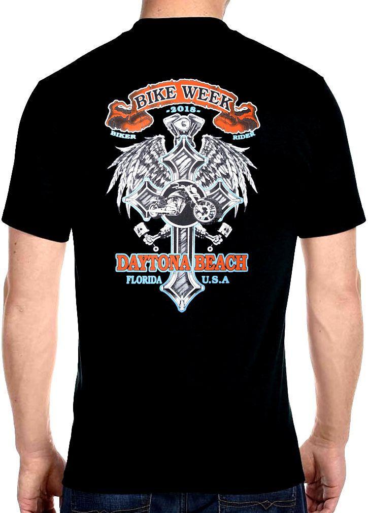 Mens Daytona Beach Bike Week 2018 Cross Design Crew Neck T Shirt