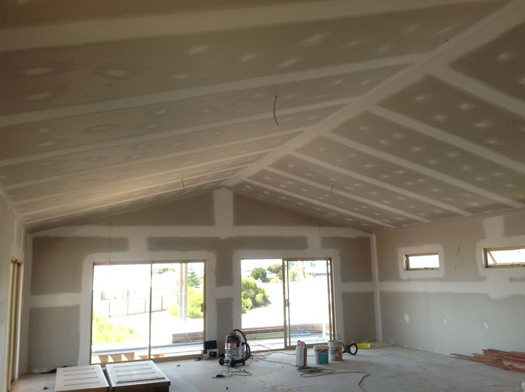 open plan kitchen living room flooring ideas decorating rectangular image result for scissor truss plasterboard ceiling ...