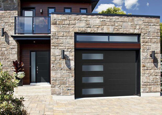 Standard Vog 10 X 7 Black Window Layout Left Side Harmony Contemporary Garage Doors Modern Garage Doors Garage Doors