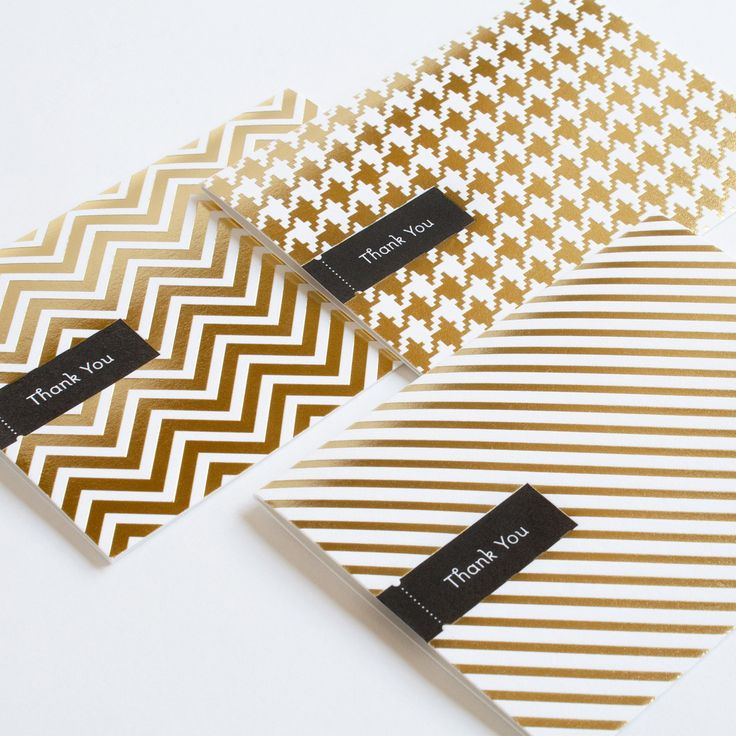 love the gold + patterns! -- foil thank you cards 6 pack / pei design