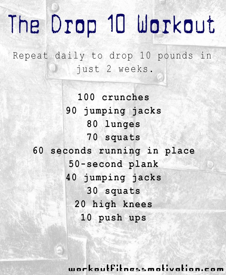 The drop-10 workout. Repeat this workout routine daily and you'll drop ten pounds within 2 weeks.  35 crunches 30 jumping jacks 30 lunges 25 squats 60 seconds running in place 50 second plank 15 jumping jacks 10 squats 10 high knees 5 push ups Repeat 3 times