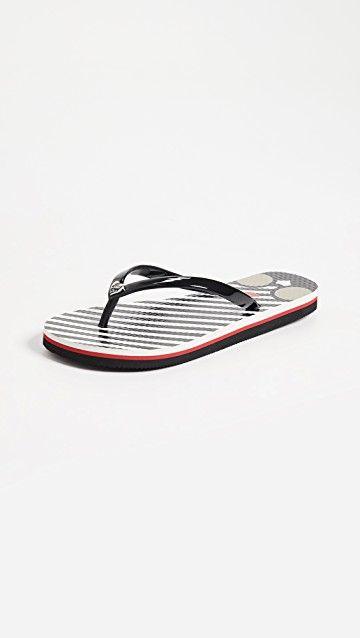 ALICE + OLIVIA | Eva Striped Flip Flops #Shoes #ALICE + OLIVIA