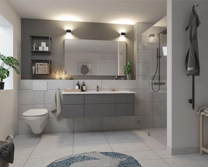 ▷ 89 design de salle de bain en gris et blanc   Salle de ...
